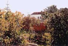 Blick quer durch Garten auf Haus Aloé