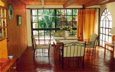 Wohnküche mit Ausblick Richtung Osten in den Garten